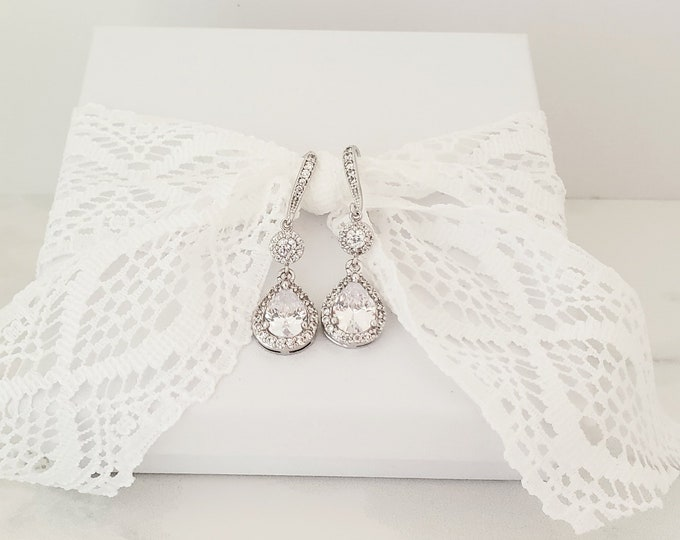 Long Silver Tear Drop Earrrings for Your Special Day by Lepa Jewelry (K413)