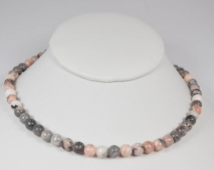 Pink Zebra Jasper Choker for Valentines Day By Lepa Jewelry (K425)