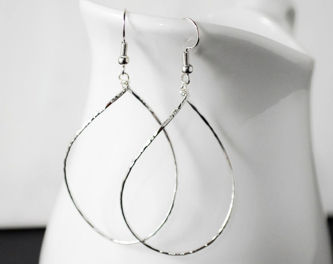 Extra Large Twisted Teardrop Hoop Earrings in Silver by Lepa Jewelry (K549)