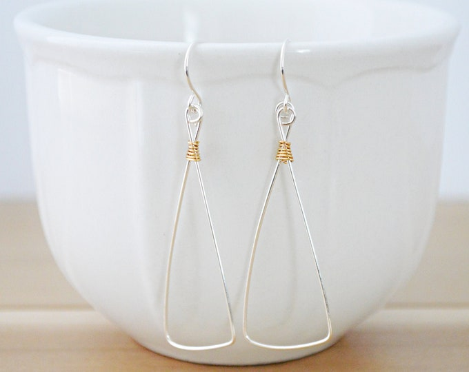 Minialist Artisan Geometric Earrings in Silver and Gold - Lepa Jewelry (K760)