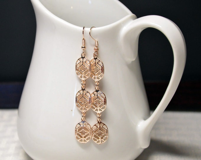 Rose Gold Long Dangle Earrings by Lepa Jewelry (K527)