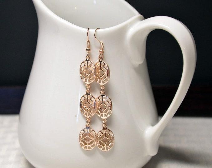Rose Gold Long Dangle Earrings by Lepa Jewelry (K527)