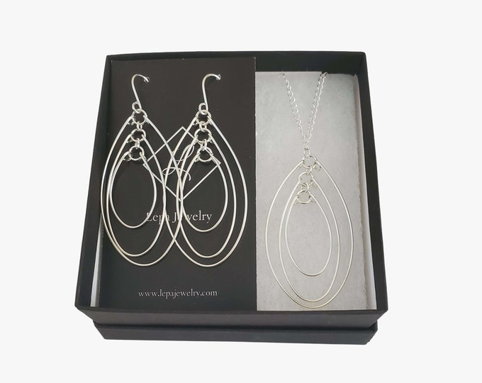 Silver Open Oval Jewelry Gift Set for Her, Bohemian Necklace & Earring Set