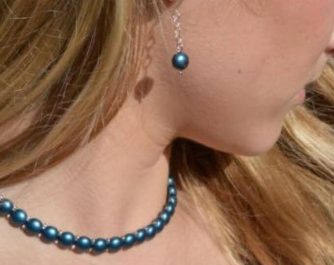Teal Green Choker, Bracelet and Earring Set by Lepa Jewelry (K418)