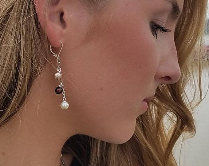 Burgandy 3 Tier Drop Earrings by Lepa Jewelry (K256)