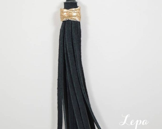 Long Black Leather Tassel Necklace on Antique Gold Colored Chain by Lepa Jewelry