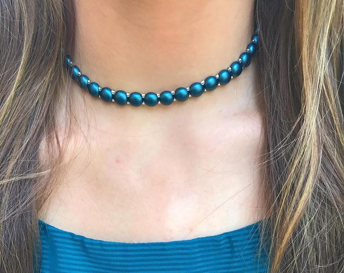 Green Choker Necklace, Teal Choker by Lepa Jewelry (K517)
