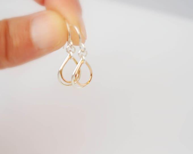Dainty Silver Gold Teardrop Earrings, Small Chic Earrings