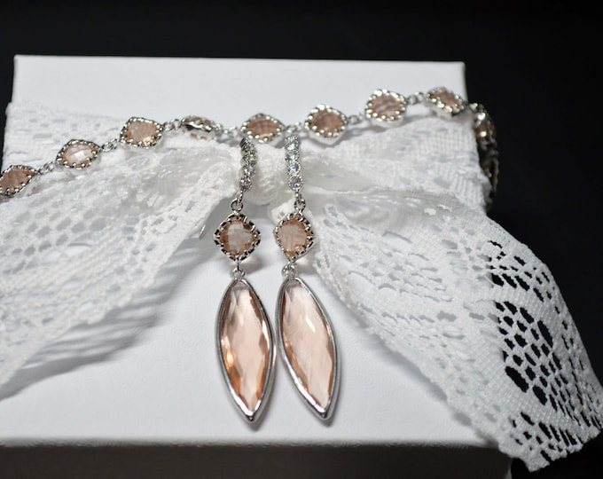 Blush 2-Tier Marquise Drop Bridal Earring & Bracelet Set by Lepa Jewelry (K411)