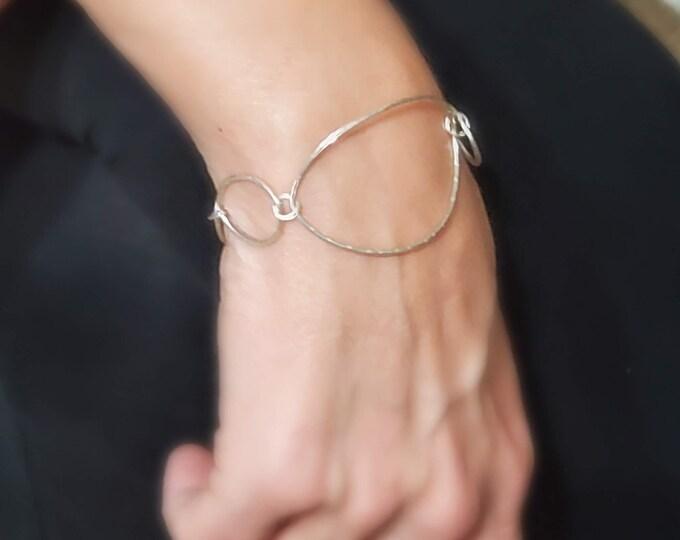 Silver Oval Link Statement Bracelet, Wire Statement Bracelet