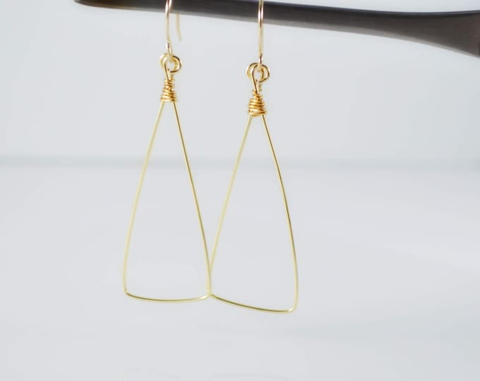 Gold Triangle Dangle Earrings - Lepa Jewelry (K759)
