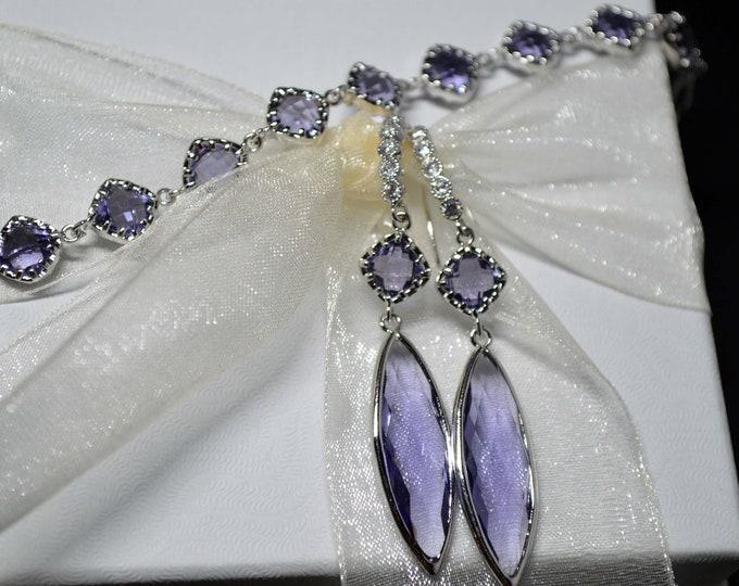 Amethyst Bracelet Earring Set by Lepa Jewelry (K555)