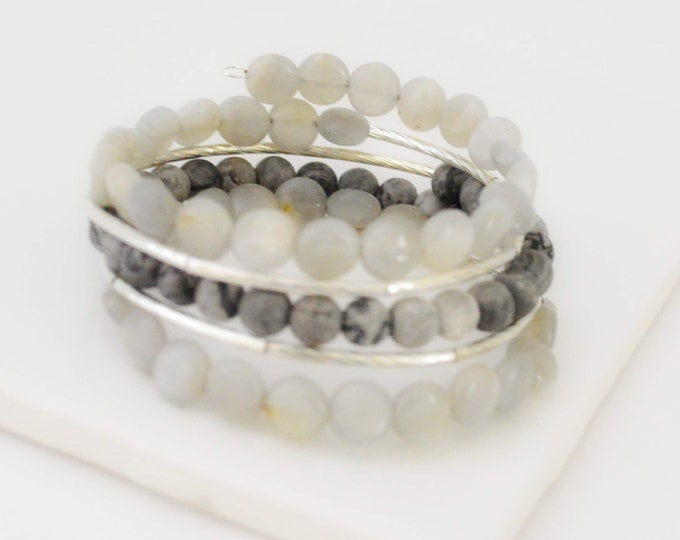 Gray Gemstone Bracelet for Women - Lepa Jewelry (K769)