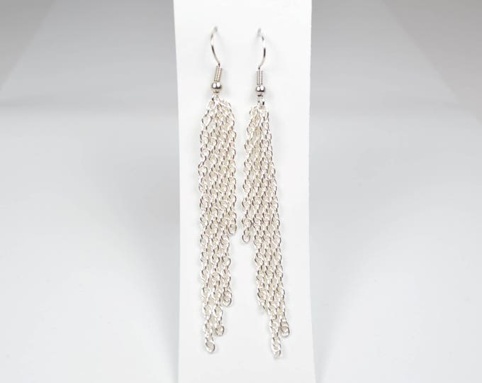 Silver Long Dangle Earrings by Lepa Jewelry (K529)