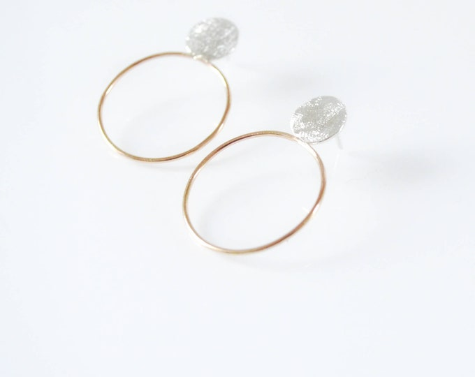 Silver Post Earrings with Gold Hoops - Artisan Style