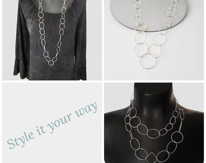 Long Geometric Link Necklace, Long Statement Necklace