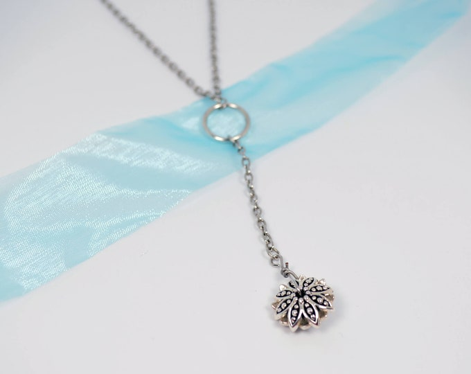 Open Circle Flower Y Necklace by Lepa Jewelry (K102)