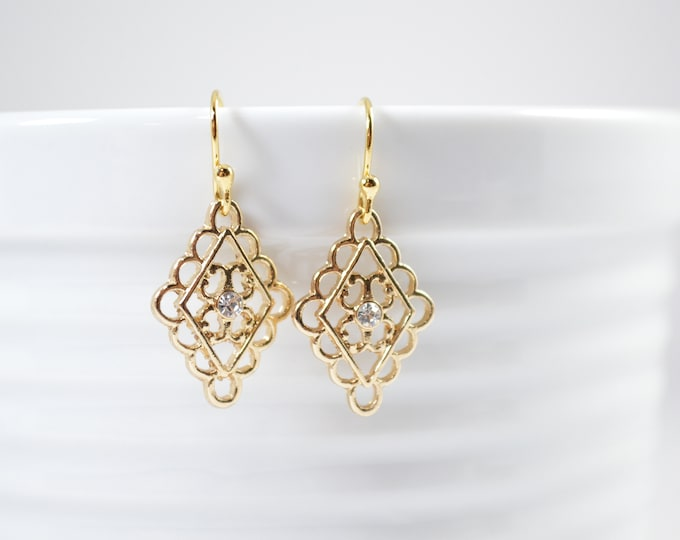 Gold Filigree Drop Earrings by Lepa Jewelry (K537)