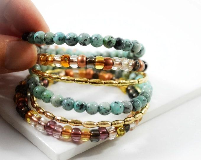 Boho Multi Wrap Beaded Bracelet in Blue/Green, Brown & Gold Tones - Lepa Jewelry (K771)