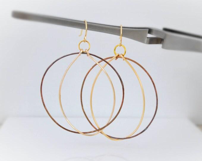 Large Mixed Metal Hoop Earrings, Hoop Earrings For Women