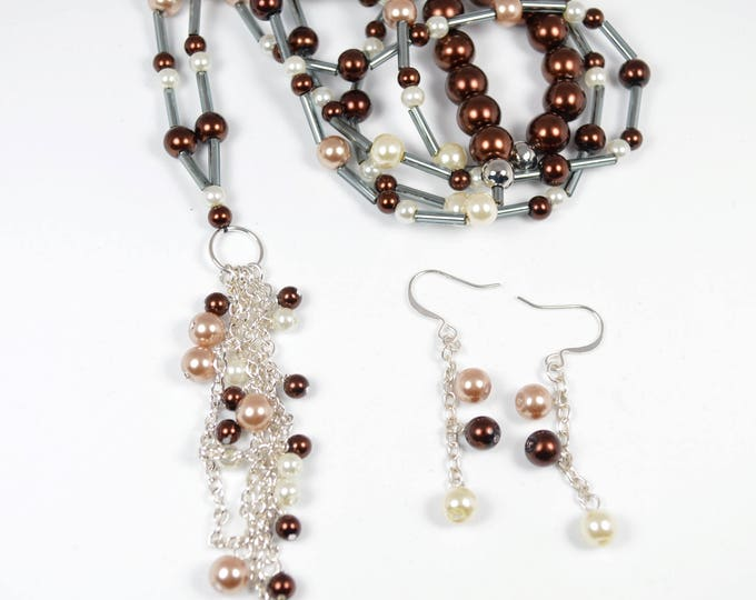 Extra Long BeadedTassel Necklace and Earring Set by Lepa Jewelry (K257)