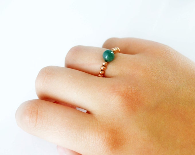 Rose Gold and Moss Agate Gemstone Adjustable Ring by Lepa Jewelry (K648)