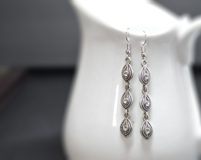 Silver Long 3 Tier Classic Drop Earrings by Lepa Jewelry (K533)