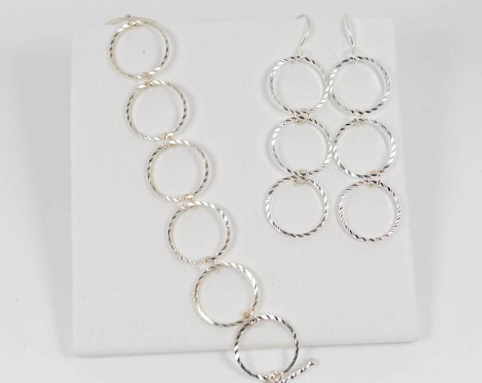 Diamond Cut Silver Bracelet Earring Set by Lepa Jewelry (K438)