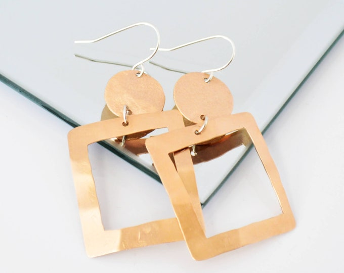 Geometric Statement Earrings, Oversized Square Earrings