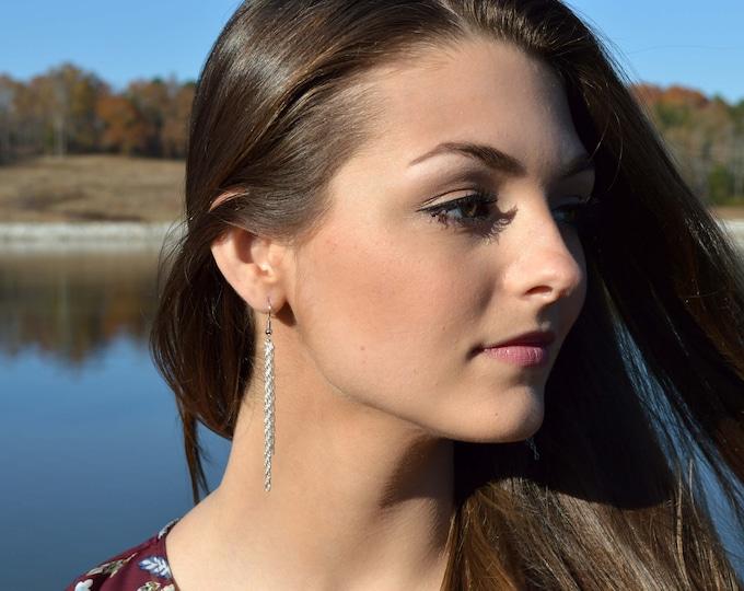 Long Silver Dangle Earrings
