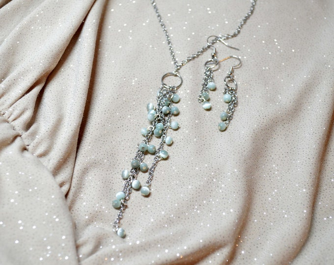 Chic Green Y Necklace & Cascade Earrings Jewelry Set by Lepa Jewelry (K262-2)