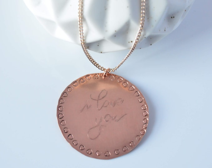 I Love You Necklace, Circle Pendant Necklace, Valentine's Day Gift for Her