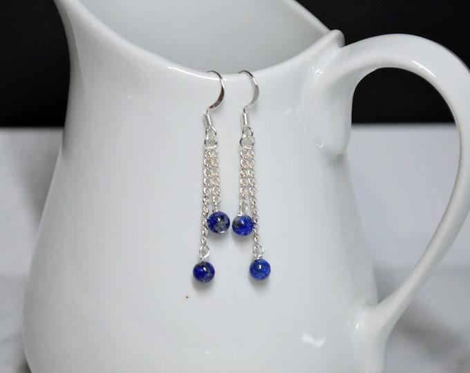 Dainty Blue Drop Earrings by Lepa Jewelry (K565)