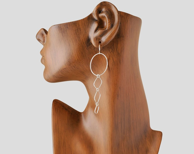Silver Linear Dangles with Hoop Earrings, Long Fashion Earrings