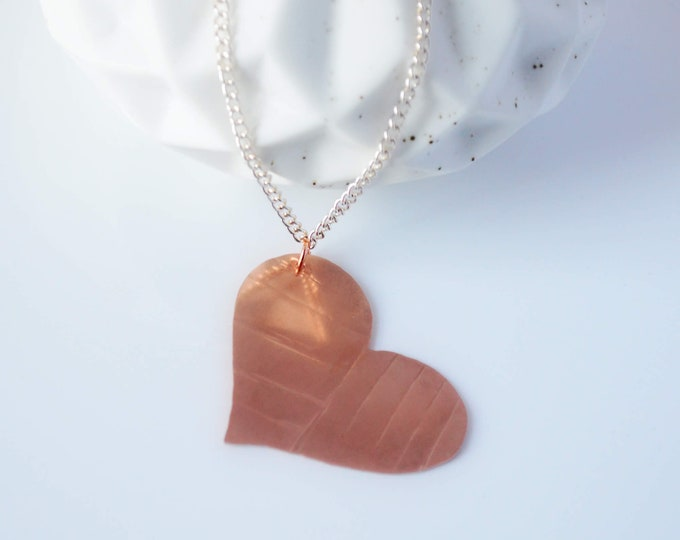 Large Heart Pendant Necklace, Handmade Copper Heart, Valentine's Day Gift for Her