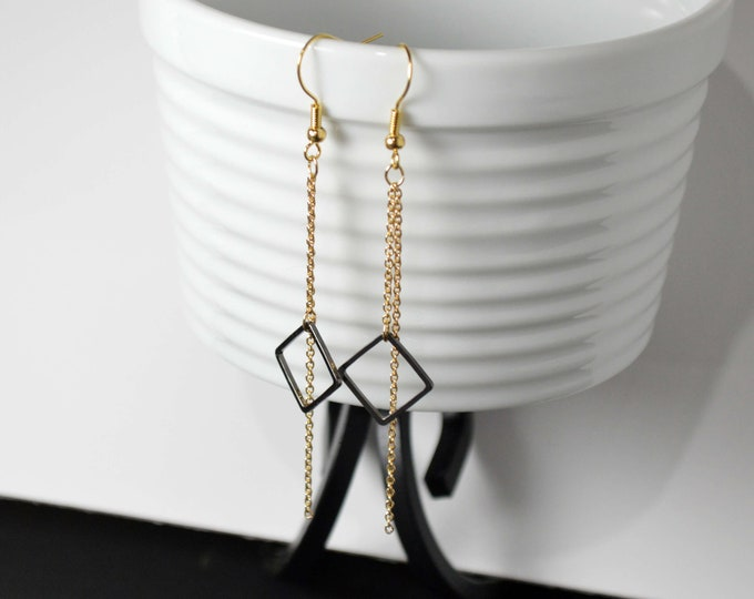Black & Gold Long Drop Earrrings by Lepa Jewelry (K458)
