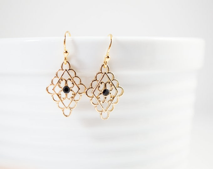 Gold Filigree Drop Earrings by Lepa Jewelry (K536)