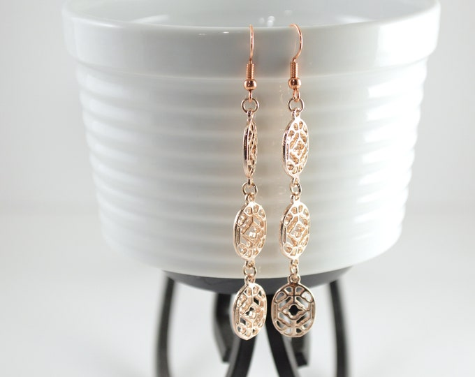 Oval Filigree Drop Earrings in Rose Gold by Lepa Jewelry (K527)