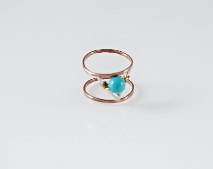 Turquoise Copper Statement Ring, Aztec V Shape Ring