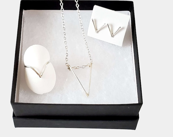 V Shape Necklace Earring Ring Jewelry Set, Silver Jewelry Gift Set for Her
