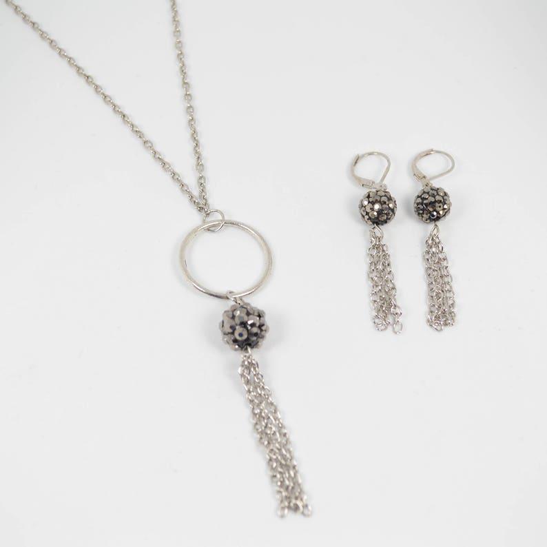 K212 Chain Tassel Modern Dangle Jewelry Open Circle Black Silver Tassel Necklace Earring Set Lepa Jewelry