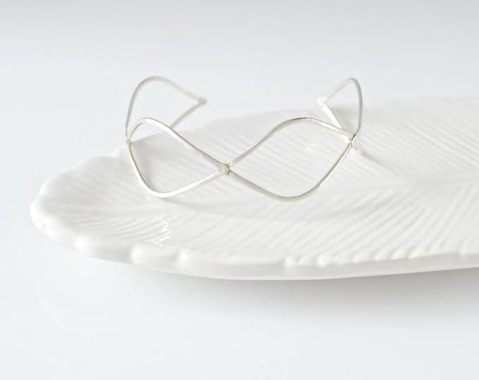 Silver Adjustable  Cuff Bracelet , Marquise Form Bracelet