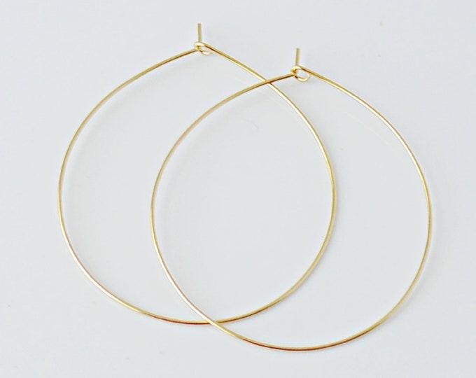 Thin and Delicate Gold Hoop Earrings, Chic Summer Threader Hoops, Wire Hoop Earrings