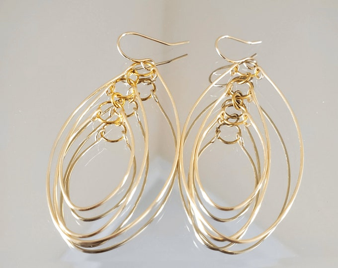 Long Open Oval Hoop Earrings, Unique Layered Dangle Earrings