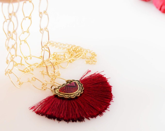 Cranberry Fan Tassel Necklace, Long Gold Necklace, Valentine's Day Gift for Her