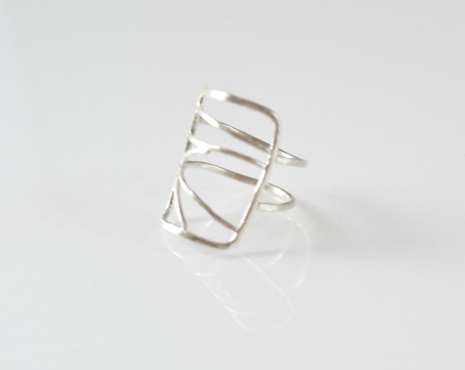 Rectangle Abstract Geometric Silver Ring, Edgy Bohemian Ring