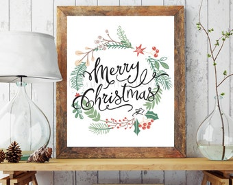 christmas printable merry christmas wall art holiday prints christmas decoration christmas art prints holiday decor holiday printable - Christmas Wall Decor