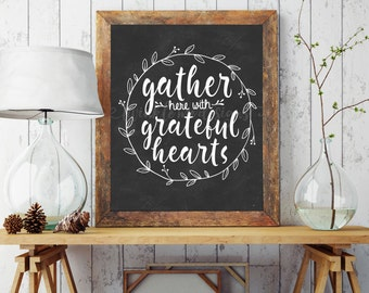 Dining Room Sign, Gather Sign, Dining Room Wall Art, Rustic Dining Room  Decor, Kitchen Wall Art, Gather Here With Grateful Hearts, DIGITAL