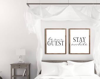 Guest Room Decor, Be Our Guest Sign, Guest Room Art, Stay Awhile Print, PRINTABLE Art, Wall Poster, Bedroom Printables, Wall Art, Farmhouse