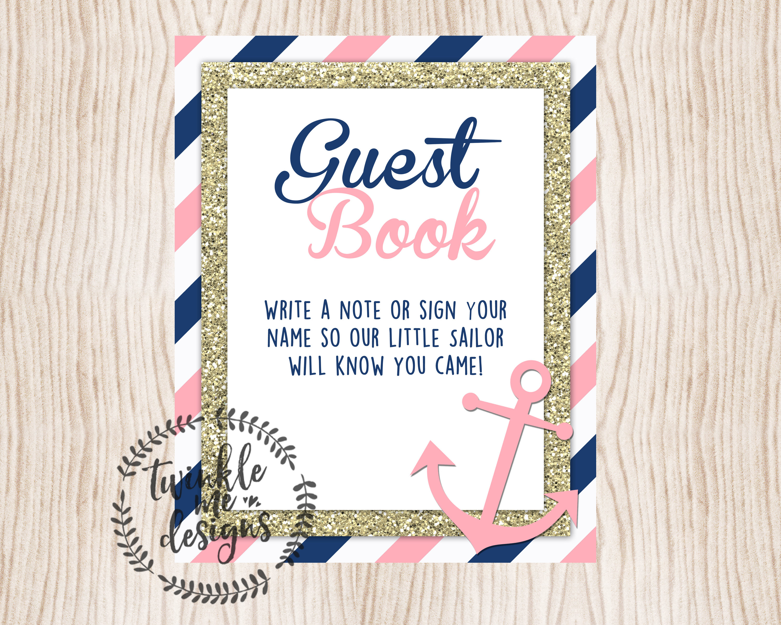 1a53b62e50b1 Printable Nautical Baby Shower Guest Book Sign Baby Shower